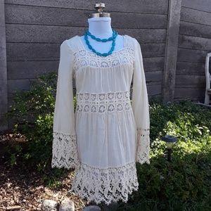 FREE PEOPLE CREAM LINEN/COTTON CROCHET DRESS*560